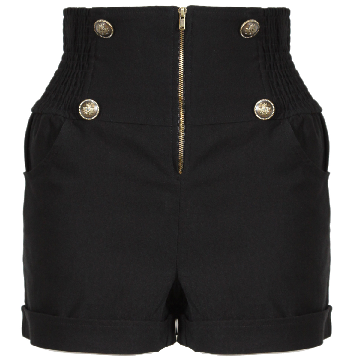 Black Military High Waisted Shorts Preview