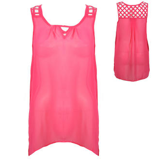 View Item Pink Sheer Sleeveless Top with Caged Back Detail