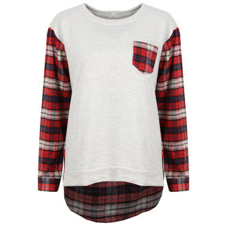 View Item Cream Sweatshirt with Red Check Sleeves and Back