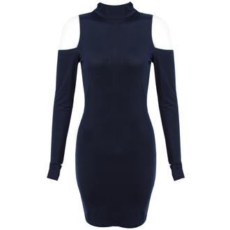View Item Navy High Neck Shoulderless Bodycon Dress
