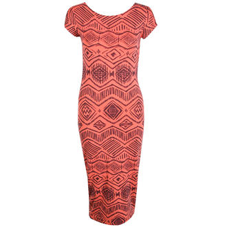 View Item Coral Tribal Print Midi Dress