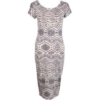 View Item Beige Tribal Print Midi Dress