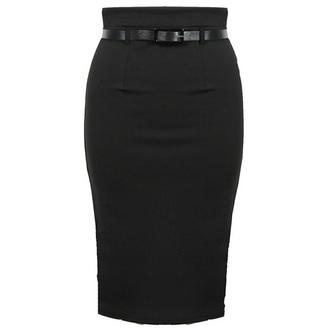 View Item Black Belted Pencil Skirt