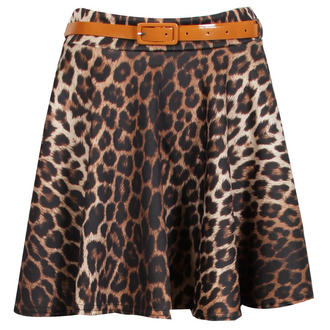 View Item Belted Leopard Print Skater Skirt