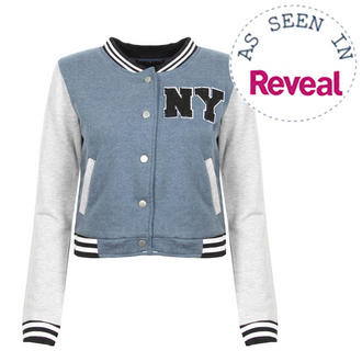 View Item Navy Blue Cropped Baseball Jacket