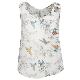 View Item Cream Bird Print Sheer Sleeveless Top