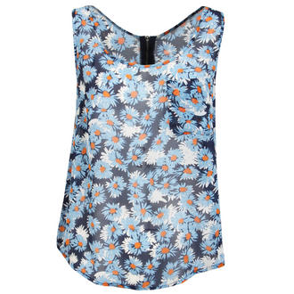 View Item Blue Floral Print Sheer Sleeveless Top