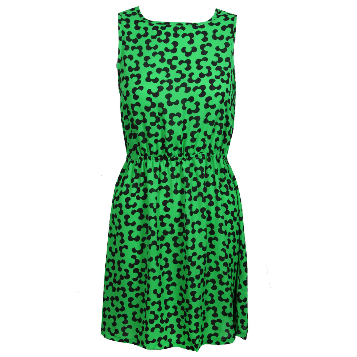 Green Floral Sleeveless Dress Preview