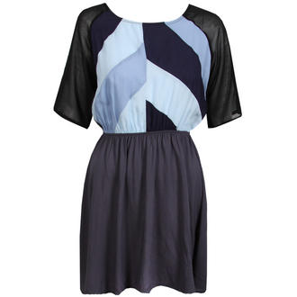 View Item Blue Colour Block Mesh Sleeve Dress