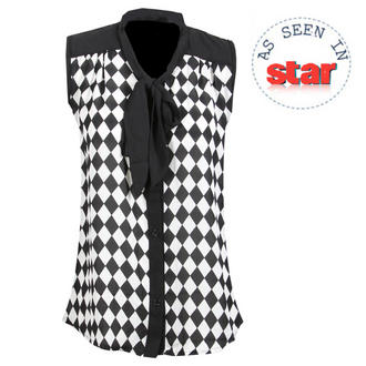 View Item Black and White Check Pattern Sheer Top