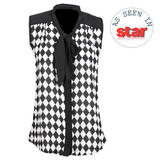 Black and White Check Pattern Sheer Top