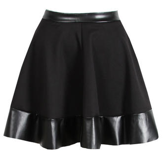 View Item Black Skater Skirt with PU Trim