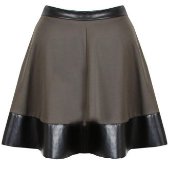 View Item Khaki Green  Skater Skirt with PU Trim