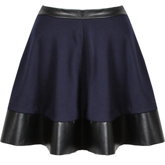 View Item Navy Blue Skater Skirt with PU Trim