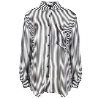 View Item Monochrome Striped Sheer Oversize Shirt