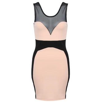 View Item Nude Sleeveless Mesh Panel Bodycon Dress