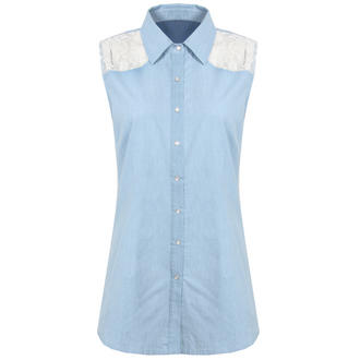 View Item Sleeveless Denim Shirt with Floral Lace Back