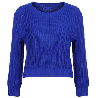 View Item Blue Cropped Knitted Jumper