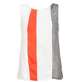 View Item Cream Colour Block Striped Sleeveless Top