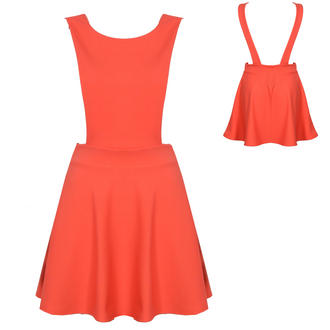 View Item Coral Pinafore Skater Dress
