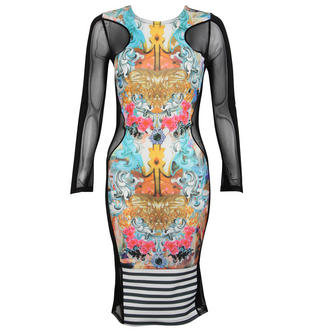 View Item Mesh Panel Bodycon Midi Dress