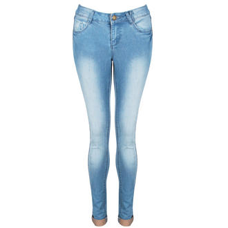 View Item Blue Faded Skinny Turn Up Jeans