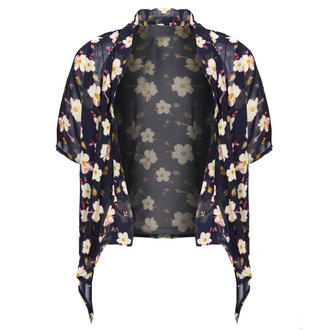 View Item Blue Floral Cropped Kimono Jacket