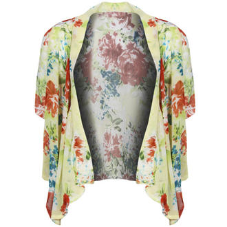 View Item Yellow Floral Cropped Kimono Jacket