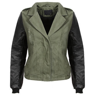 View Item Khaki Bomber Jacket with PU Leather Sleeves