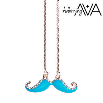 View Item Blue Crystal Moustache Necklace
