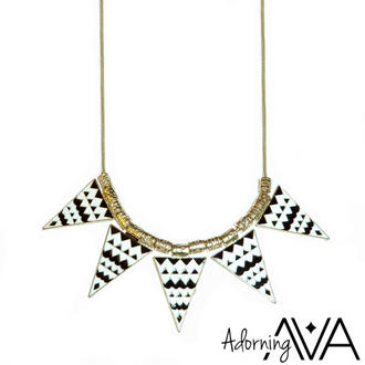 View Item White Aztec Triangle Necklace