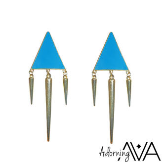View Item Blue Triangle Spike Earrings