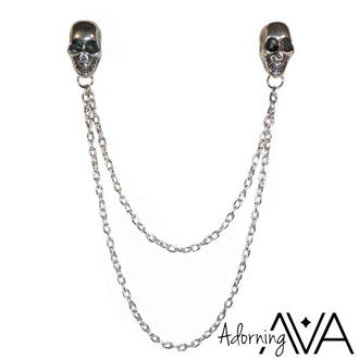 View Item Silver Skull Collar Tips