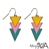 3 Neon Triangle Earrings
