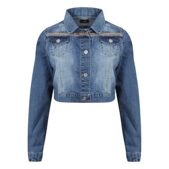 View Item Cropped Denim Jacket with Aztec Fabric Detail