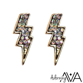 View Item Jewell Embellished Lightning Bolt Stud Earrings
