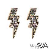 Jewell Embellished Lightning Bolt Stud Earrings