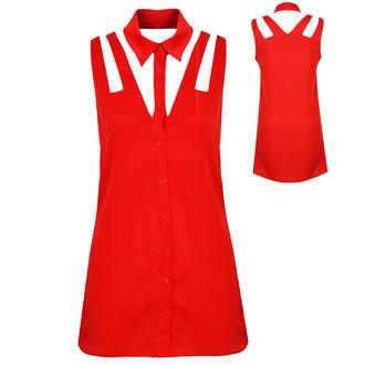 View Item Red Cutout Shirt Dress