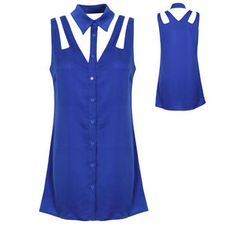 View Item Blue Cutout Shirt Dress