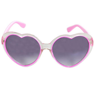 View Item Pink Heart Shaped Transparent Sunglasses