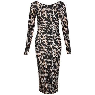 View Item Snake Print Bodycon Midi Dress