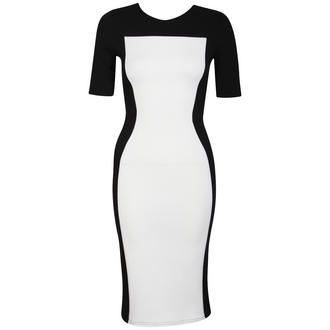 View Item White Bodycon Dress with Black Contrast Side Panels
