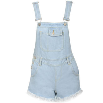 View Item Frayed Denim Dungaree Playsuit
