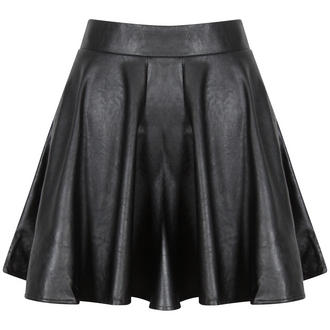 View Item Black PU Leather Skater Skirt