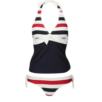 View Item Stripe & Solid Tankini