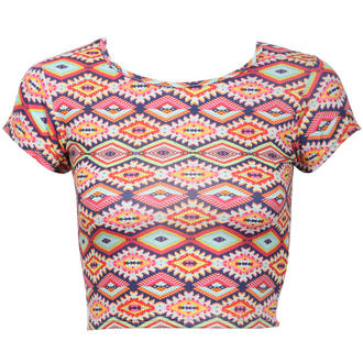 View Item Tribal Print Crop Top