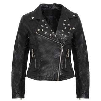 View Item Black Cropped PU Studded Biker Jacket