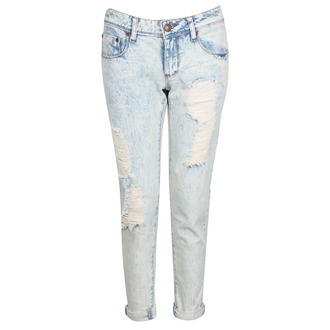 View Item Bleached Torn Denim Turn Up Jeans