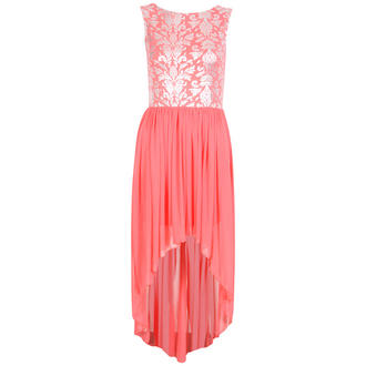 View Item Coral Mesh Dip Hem Dress with Silver Leaf Print