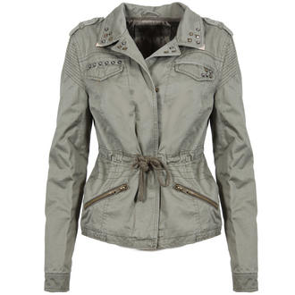 View Item Studded Khaki Military Jacket with Metal Collar Tips